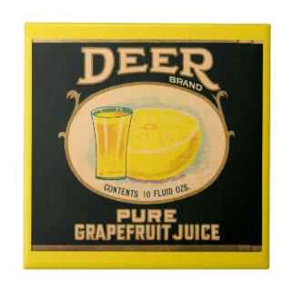 1930s Deer Brand Grapefruit Juice label Tile