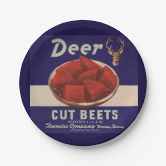 1930s Deer Cut Beets can label Paper Plate