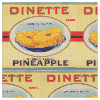 1930s Dinette pineapple label print Fabric