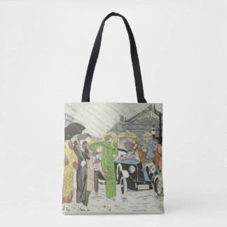 1930s fashion , street scene tote bag