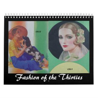 1930's Fashionable Women Wall Calendars