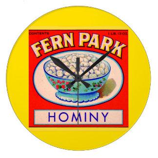 1930s Fern Park hominy grits label Large Clock