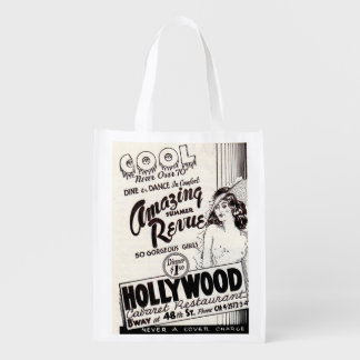 1930s Hollywood Cabaret Restaurant ad print Reusable Grocery Bag