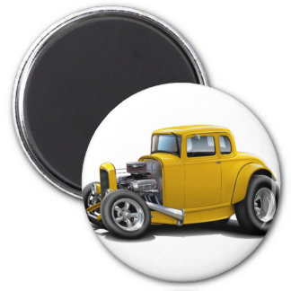 1930's Hot Rod Yellow Car Magnet