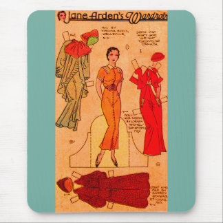 1930s Jane Arden paper doll blue dress red dress Mouse Pad