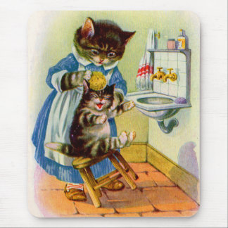 1930s kitty mama washes her kitten mouse pad