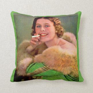 1930s lady smoker print cushion