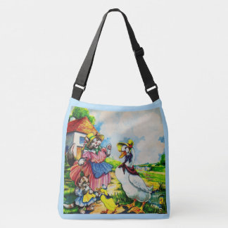 1930s mama kitty cat and baby kitty visit ducks crossbody bag