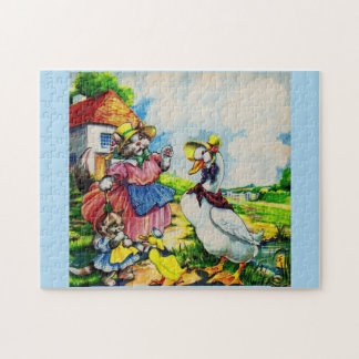 1930s mama kitty cat and baby kitty visit ducks jigsaw puzzle