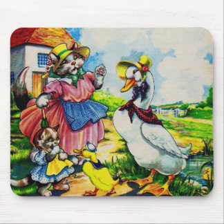 1930s mama kitty cat and baby kitty visit ducks mouse pad