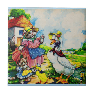 1930s mama kitty cat and baby kitty visit ducks tile