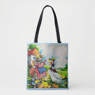 1930s mama kitty cat and baby kitty visit ducks tote bag