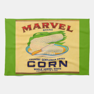 1930s Marvel canned corn label Tea Towel