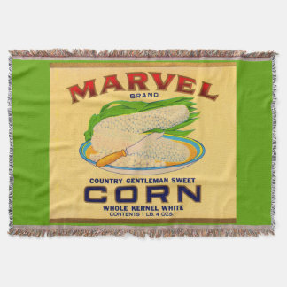 1930s Marvel canned corn label Throw Blanket