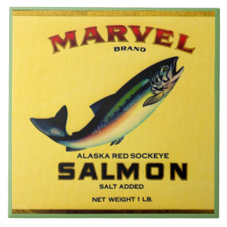 1930s Marvel salmon can label Ceramic Tile