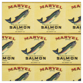 1930s Marvel salmon can label print Fabric
