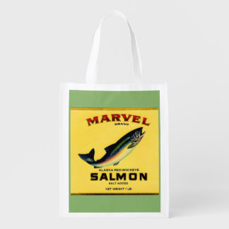 1930s Marvel salmon can label Reusable Grocery Bag