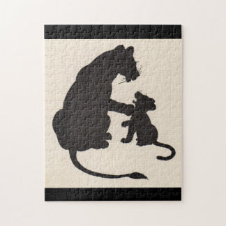 1930s mother lion and cub silhouette jigsaw puzzle