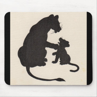 1930s mother lion and cub silhouette mouse pad