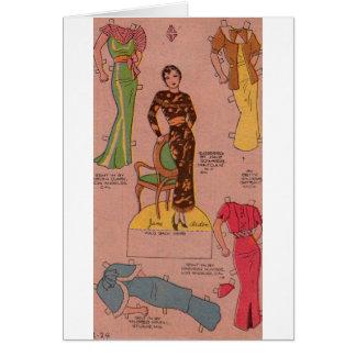 1930s paper doll beautiful dresses card