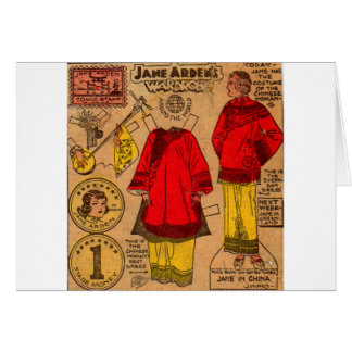1930s paper doll Chinese clothes Card