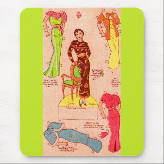 1930s paper doll Jane Arden beautiful dresses Mouse Pad