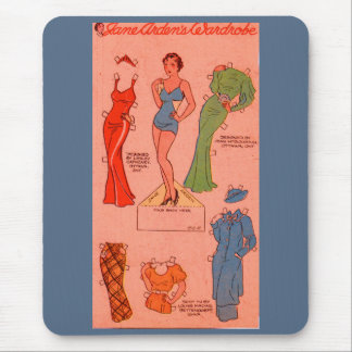 1930s paper doll Jane Arden red dress green dress Mouse Pad