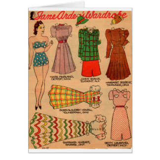 1930s paper doll seven outfits card