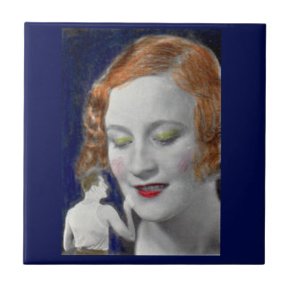 1930s redhead woman and her teeny tiny husband small square tile