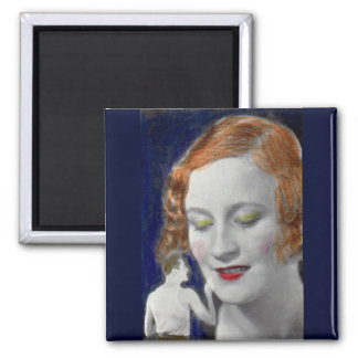 1930s redhead woman and her teeny tiny husband square magnet