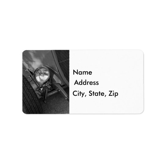 1930's Roadster Grayscale Address Label