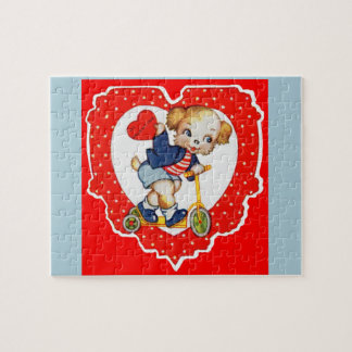 1930s Valentine puppy dog riding scooter Jigsaw Puzzle