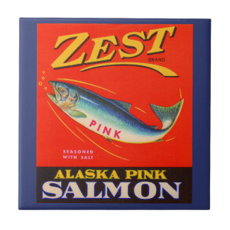 1930s Zest pink salmon can label Tile