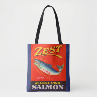1930s Zest pink salmon can label Tote Bag