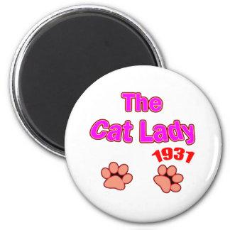 1931 cat lady magnet