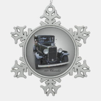 1931 CHEVROLET SNOWFLAKE PEWTER CHRISTMAS ORNAMENT