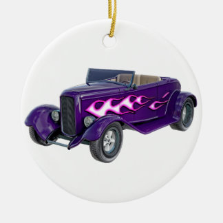 1932 Purple Roadster with Flame Ceramic Ornament