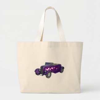 1932 Purple Roadster with Flame Large Tote Bag