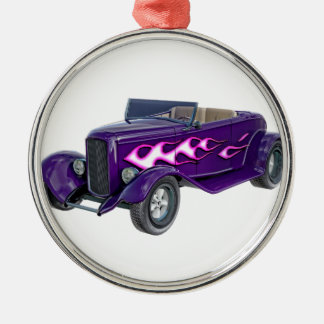 1932 Purple Roadster with Flame Metal Ornament