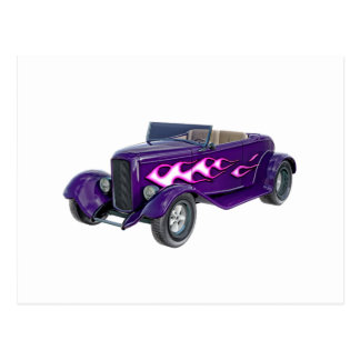 1932 Purple Roadster with Flame Postcard
