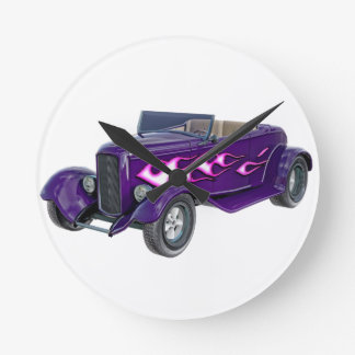 1932 Purple Roadster with Flame Round Clock