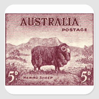 1934 Australian Merino Sheep Square Sticker