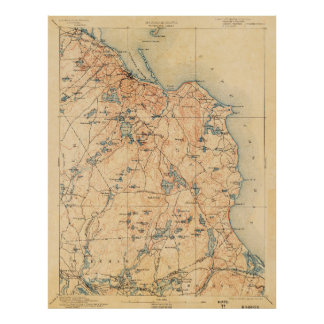 1934 Topographic Map of Plymouth Mass Poster