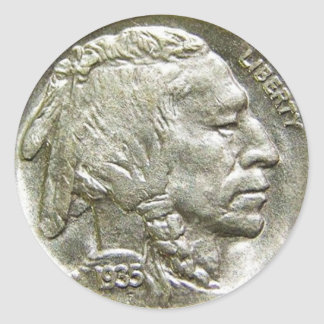 1935 Indian Head Silver Nickel Stickers