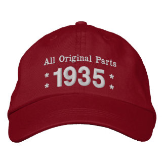 1935 or Any Year 80th Birthday A02B RED and WHITE Embroidered Baseball Caps