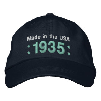 1935 or Any Year 80th Birthday A6A BLACK and TEAL Embroidered Hats