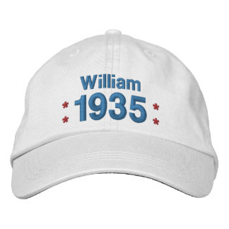 1935 or Any Year 80th Birthday A8A WHITE and BLUE Embroidered Hat