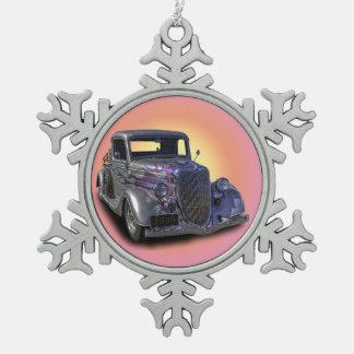 1935 VINTAGE PICKUP SNOWFLAKE PEWTER CHRISTMAS ORNAMENT