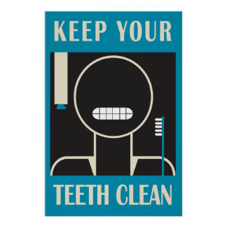 """1936-38 """"Keep Your Teeth Clean"""" Reproduction Poster"""