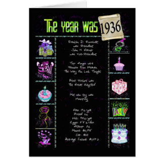 1936 Birthday Fun Facts Greeting Card